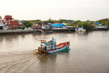 Fishing boat in river