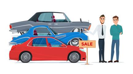Buyer chooses a new car of the three proposed manager. Business cartoon concept. Vector illustration isolated on white background in flat style.