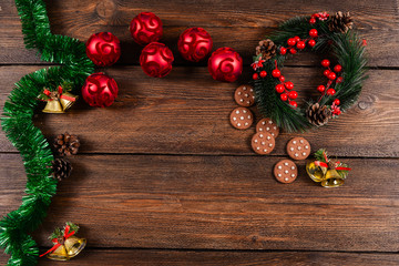 Christmas white wooden background top view