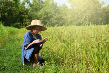 Asain girl farmer on field,Happy farmer