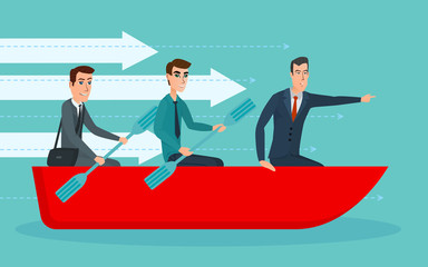 Businessmen workers rowing oars in boat and manager with. Team Management. Business cartoon concept. Vector creative color illustrations flat design in flat modern style.