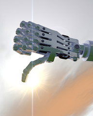 3D illustration of a robot hand giving a thumbs down disapproval sign; dramatic sunrise/sunset background sky.