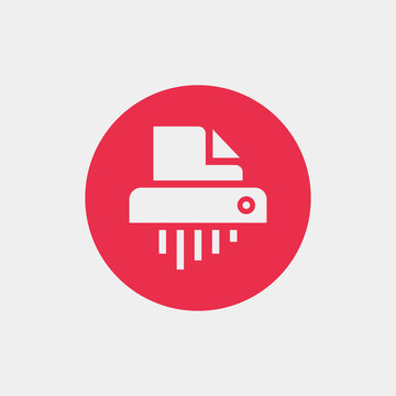 Shredder icon vector, clip art. Also useful as logo, circle app icon, symbol, graphic image, silhouette and illustration.