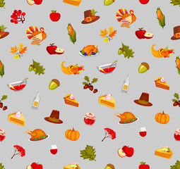 Thanksgiving Day. Seamless illustration. The tone of gray. Food and beverages, vegetables, fruit.