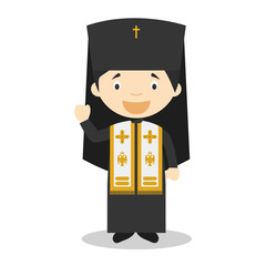Orthodox Patriarch cartoon character. Vector Illustration. Kids Collection.