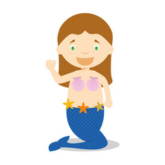 Little girl dressed as a mermaid. Vector Illustration. Kids Collection.