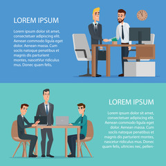 Teamwork and assistance business concept design usage. Concentrated cartoon businessman and boss are working together on a project using desktop computer. Business characters set. Banners web design