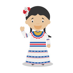 Character from Dominican Republic dressed in the traditional way Vector Illustration. Kids of the World Collection.