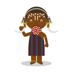Character from Ethiopia (Mursi Tribe) dressed in the traditional way Vector Illustration. Kids of the World Collection.