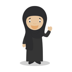 Woman character from Iran dressed in the traditional way with chador. Vector Illustration. Kids of the World Collection.