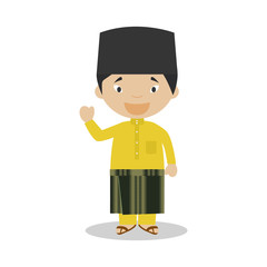 Character from Malaysia dressed in the traditional way Vector Illustration. Kids of the World Collection.
