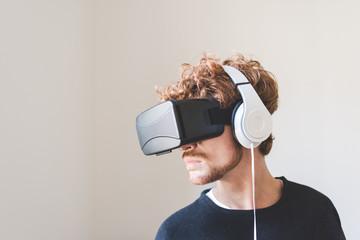 Portrait man using 3D viewer