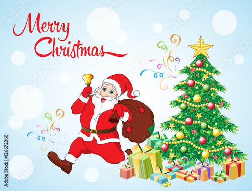 merry christmas greeting card with santa claus gift decorated snowman christmas tree vector illustration happy new year santa with merry xmas