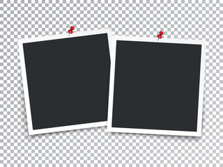 Realistic Photo Frames with Pin Isolated Transparent Special Effect. Vector EPS 10