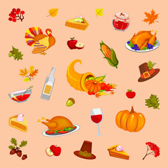 Thanksgiving Day. Orange background, illustration. Food and beverages, vegetables, fruit.