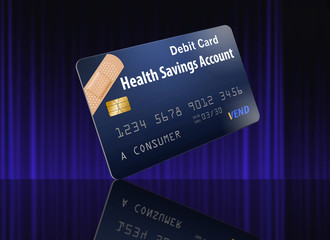 This is a safe to publish generic version of a Health Savings Account Debit Card. This is a photo illustration combining photographs with artwork and is free of copyright.