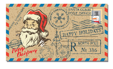 mail letter with rubber stamp