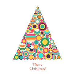 Vector christmas tree with flat geometrical circle elements.