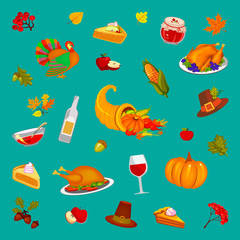 Thanksgiving Day, turquoise background, illustration. Food and beverages, vegetables, fruit.