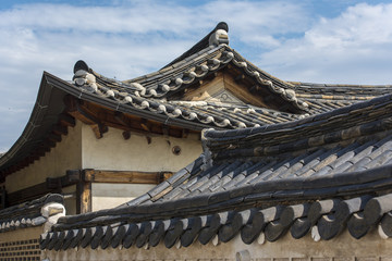Old Korean architecture at Bukchon Hanok village -  Seoul, South Korea.