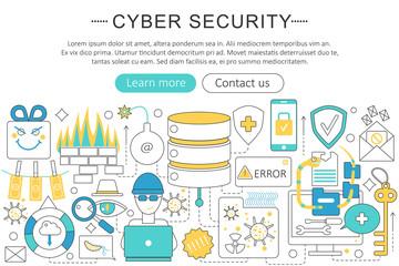 Vector elegant thin flat line Cyber security concept. Website header banner elements layout. Presentation, flyer and poster. Internet online security concept.