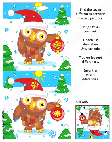 new year or christmas visual puzzle find the seven differences between the two pictures with
