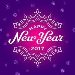 Happy new year 2017 lettering greeting card design with snowflak