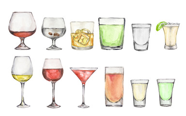 Watercolor alcohol set. Many glasses on white background. Wine, liquor, champagne and beer.