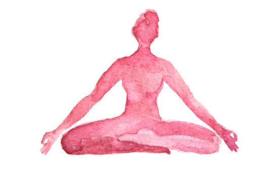 Watercolor yoga pose on white background. Asana. Healthy lifestyle and relaxation. Lotus pose.