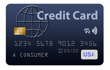 This is a Blue generic credit card on a white background. This is a photo illustration combining photographs with graphics and is free of copyright. These images of credit cards use fictitious names,