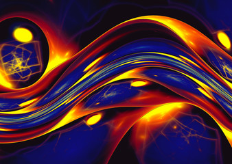 Wall Mural - yellow blue abstract wave psychedelic background