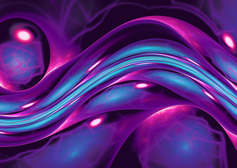 Wall Mural - blue purple abstract wave psychedelic background