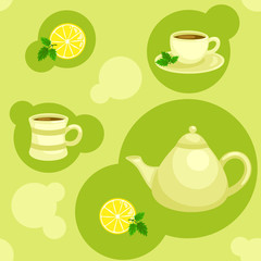 Seamless green pattern with teapot and cups. Vector illustration
