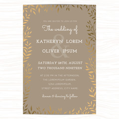 Wedding invitation card template with golden flower floral leaf on background. Vector illustration.