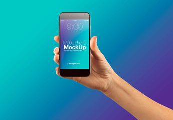 Hand with Cellphone on Gradient Background Mockup 39