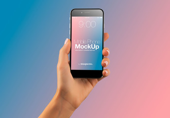 Hand with Cellphone on Gradient Background Mockup 40