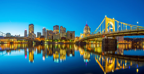 Wall Mural - Panorama of downtown Pittsburgh at twilight