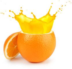 Wall Mural - cut orange juice splashing isolated on white
