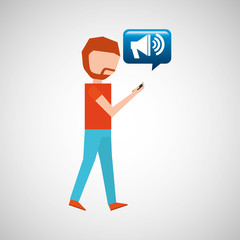man watching cellphone speaker vector illustration eps 10