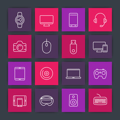 Modern gadgets line icons set, computer monitor, gamepad, laptop, smart watch, tablet, wearable devices, electronics pictograms, vector illustration