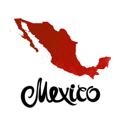 Mexico. Abstract red vector watercolor map and lettering