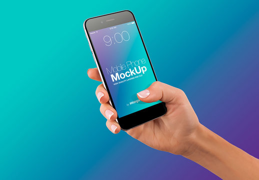 Hand with Cellphone on Gradient Background Mockup 62