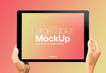 Hands with Tablet on Gradient Background Mockup 17