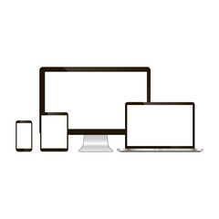 Set of realistic computer monitor, laptop, tablet and mobile phone. Electronic gadgets isolated on white background.
