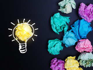 Business, education, idea, inspiration  concept  drawing lighting bulb and paper  on background.