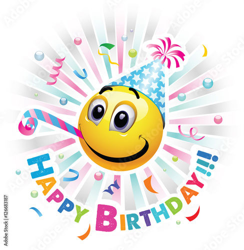 """Happy birthday greeting card. Smiley celebrating. Smiley ..."