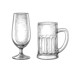 Empty beer glass and beer mug