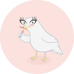 Cute cartoon bird preparing for the party and applying her makeup. Vector illustration