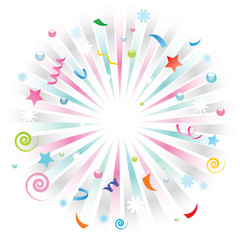 Greeting card background. Background presenting explosion of variety of elements related to celebrations such as birthdays, New Year, parties, holidays.