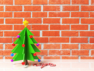 Decorative Christmas tree in cartoon style with toys colored balls, star and candy cane caramel. On red brick wall background with free copy space for text, design. Happy new year. 3d illustration